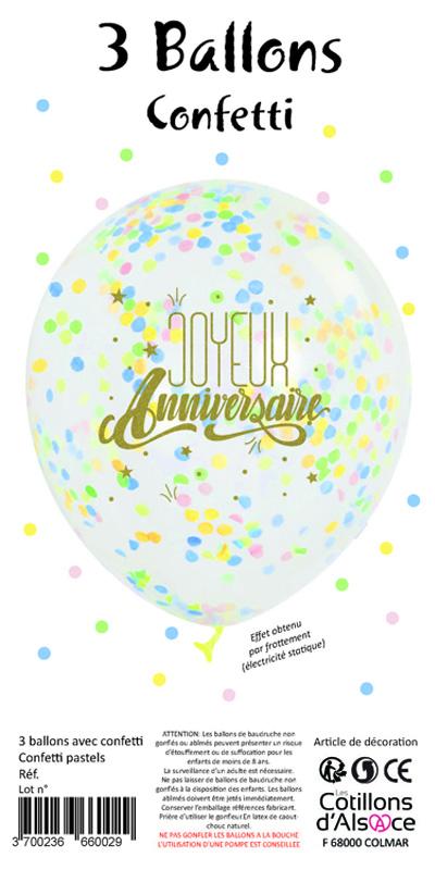 3 Ballons Confettis Joyeux Anniversaire